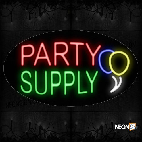 Image of 14266 Party Supply With Balloon Logo Neon Sign_17x30 Contoured Black Backing