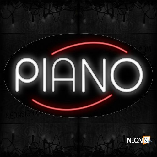 Image of 14272 Piano In Red Arc Border Neon Sign_17x30 Countoured Black Backing