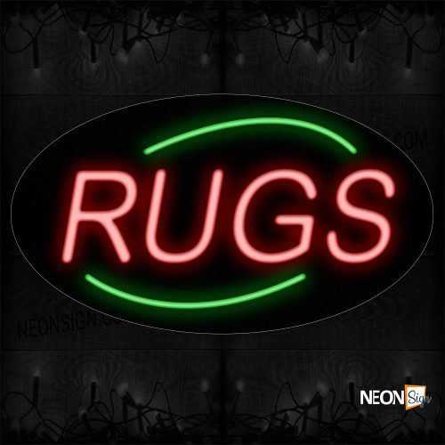 Image of 14286 Rugs In Red With Green Arc Border Neon Sign_17x30 Contoured Black Backing