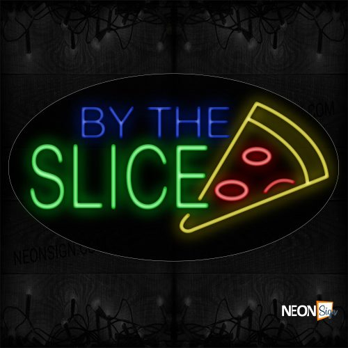 Image of 14295-2 By The Slice With Pizza Logo Neon Sign_17x30 Black Backing