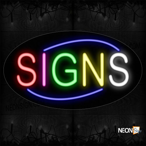 Image of 14295 Colorful Signs With Blue Arc Border Neon Sign_17x30 Contoured Black Backing