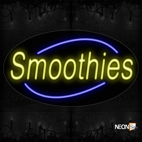 Image of 14297 Smoothies In Yellow With Blue Arc Border Neon Sign_17x30 Contoured Black Backing