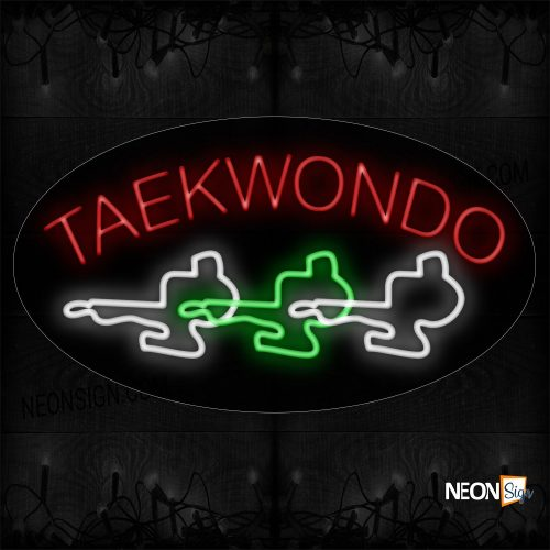 Image of 14303 Taekwondo With 3 Boy Image Arc Border Led Bulb Sign_17x30 Contoured Black Backing