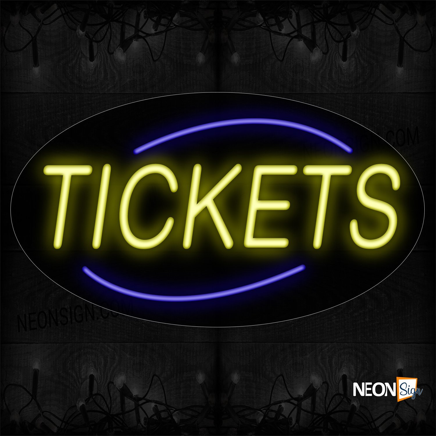 Image of 14308 Tickets With Blue Arc Border Neon Sign_17x30 Contoured Black Backing