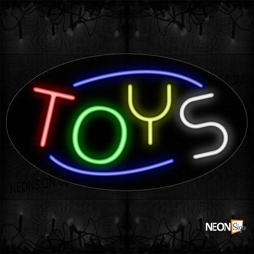 Image of 14310 Colorful Toys With Circle Border Neon Sign_17x30 Contoured Black Backing