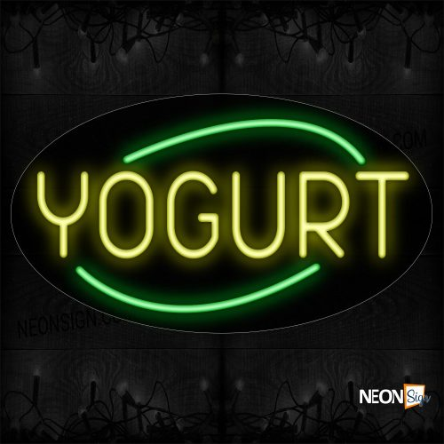 Image of 14320 Yogurt With Arc Border Neon Sign_17x30 Contoured Black Backing