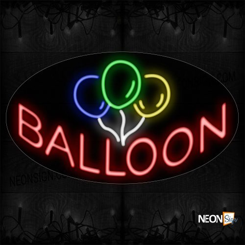 Image of 14321 Balloon With Logo Neon Sign_17x30 Contoured Black Backing