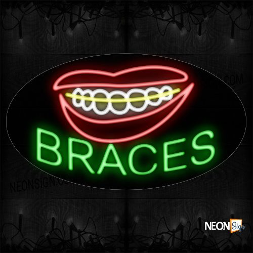 Image of 14328 Braces With Smile Logo Neon Sign_17x30 Black Backing