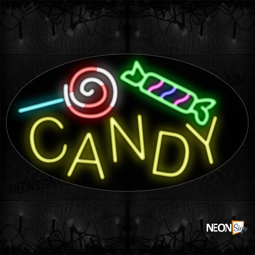 Image of 14331 Candy In Yellow With Logo Neon Sign_17x30 Contoured Black Backing