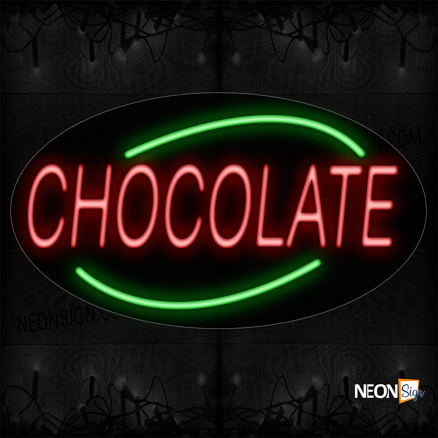 Image of 14332 Chocolate With Arc Border Neon Sign_17x30 Contoured Black Backing