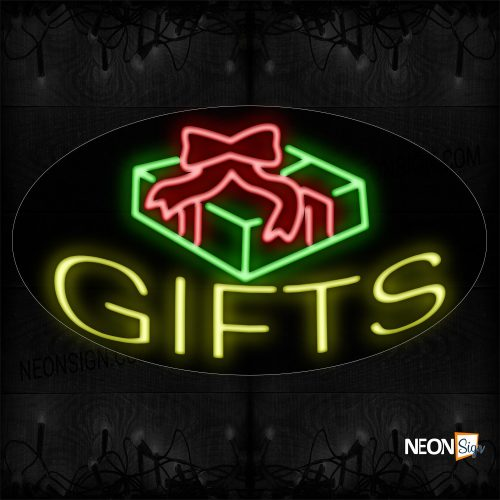 Image of 14346 Gifts With Logo Neon Sign_17x30 Contoured Black Backing