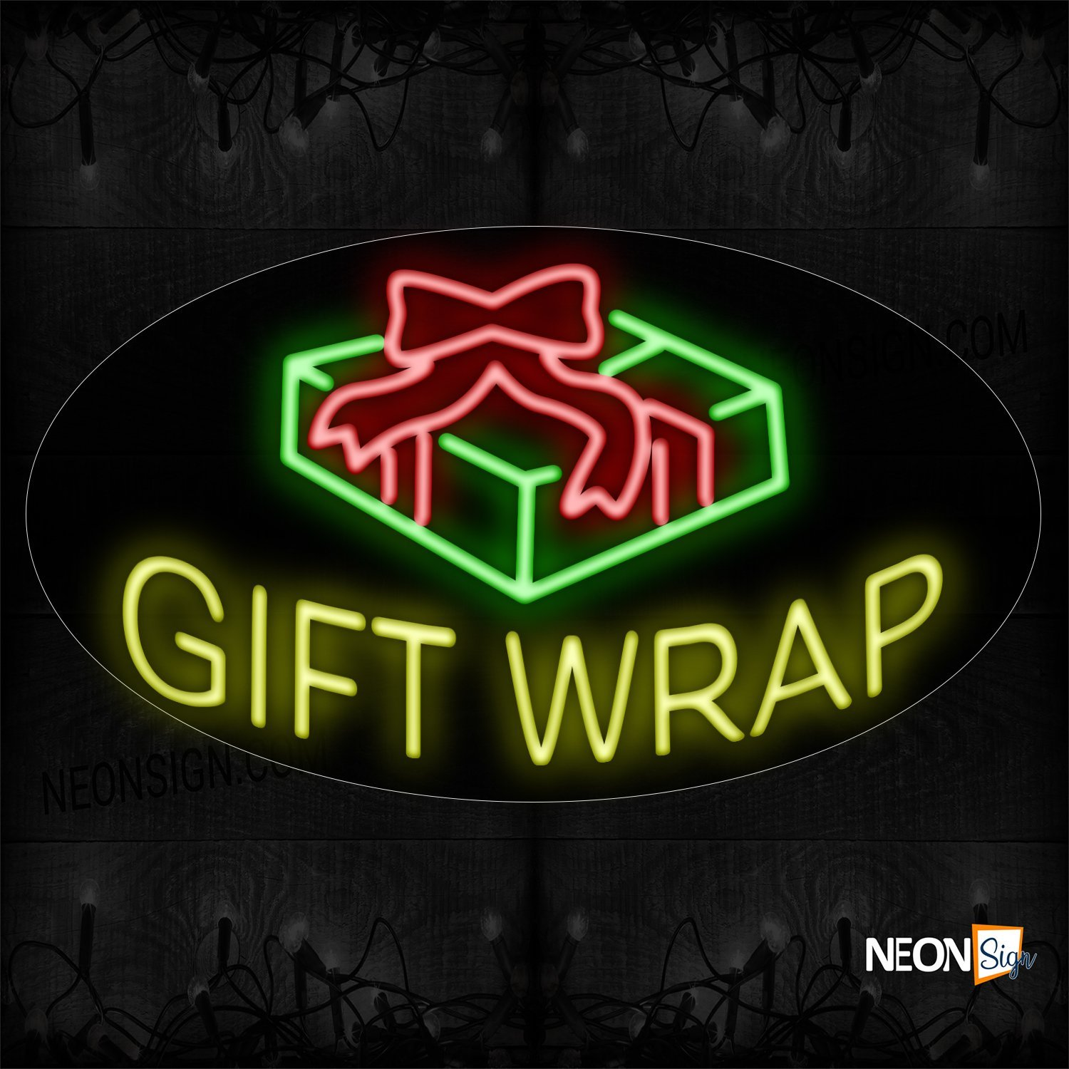 Image of 14347 Gift Wrap With Logo Neon Sign_17x30 Contoured Black Backing