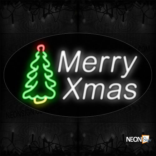 Image of 14356 Merry Xmas In White With Logo Neon Sign_17x30 Contoured Black Backing