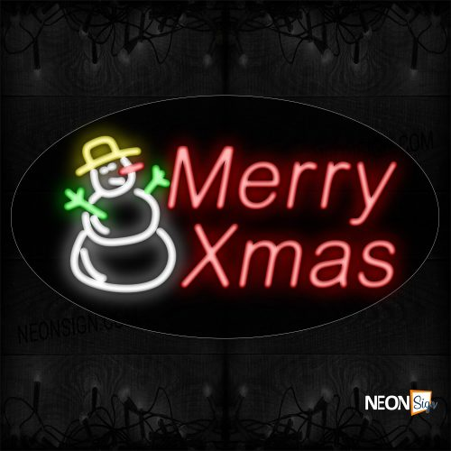 Image of 14357 Merry Xmas With Snowman Logo Neon Sign_17x30 Contoured Black Backing