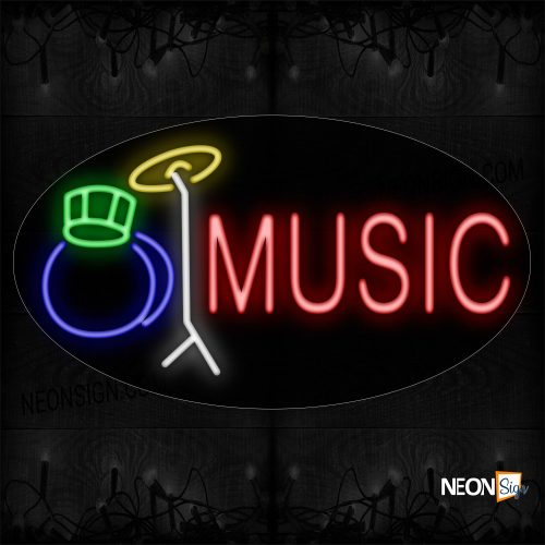 Image of 14359 Music With Drum Logo Neon Sign_17x30 Countoured Black Backing