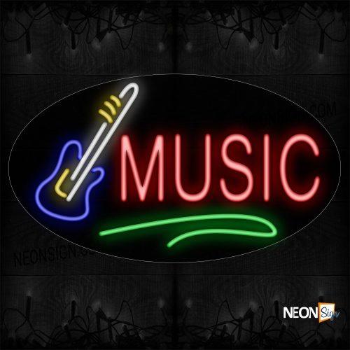 Image of 14360 Music With Contoured black backing Guitar Logo Neon Sign_17x30 Countoured Black Backing