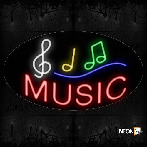 Image of 14361 Music With Notes Neon Sign_17x30 Countoured Black Backing