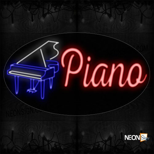 Image of 14365 Piano In Red With Logo Neon Sign_17x30 Countoured Black Backing