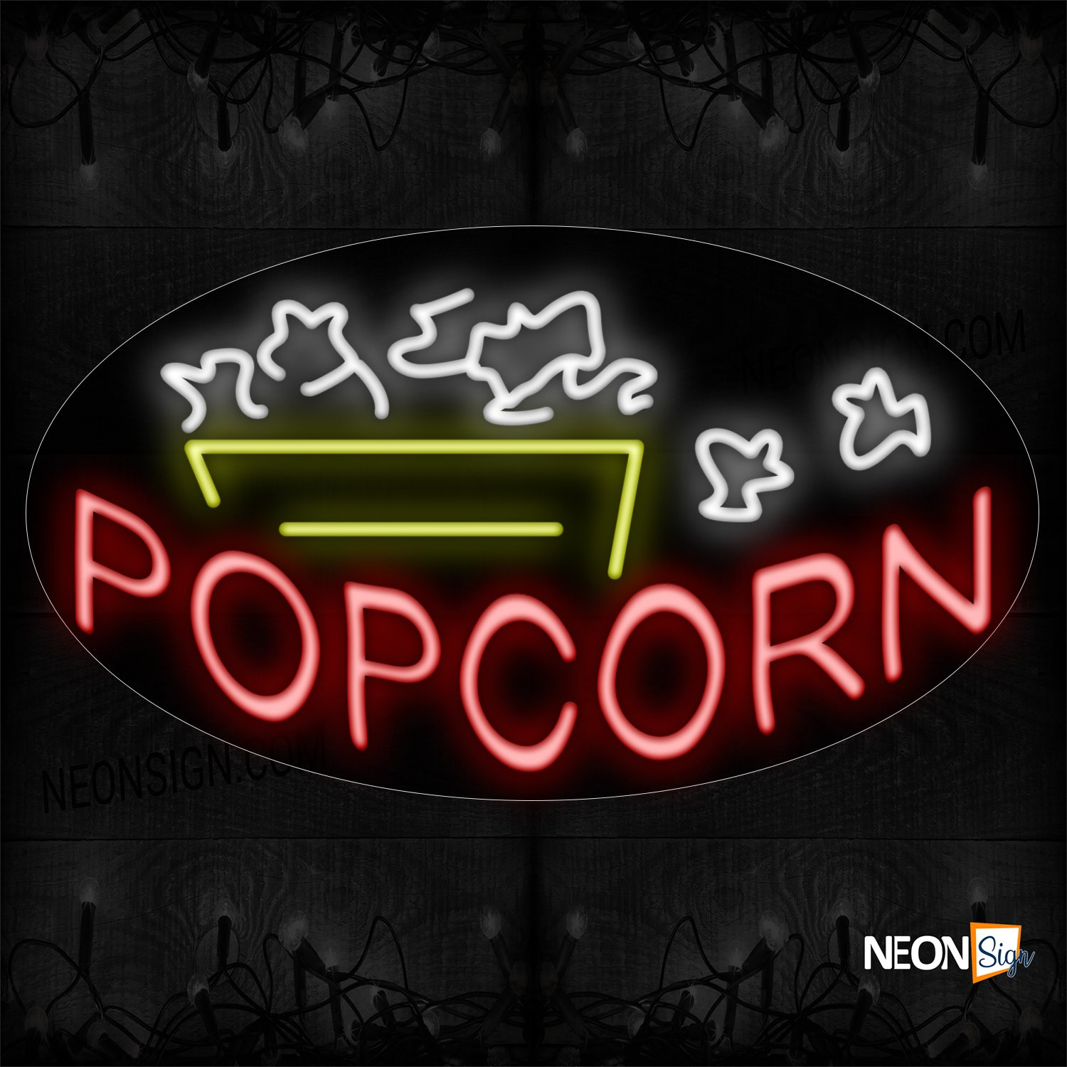 Image of 14367 Popcorn In Red With Logo Neon Sign_17x30 Contoured Black Backing