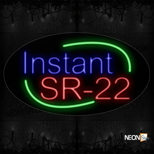 Image of 14374 Instant Sr-22 With Arc Border Neon Sign_17x30 Contoured Black Backing
