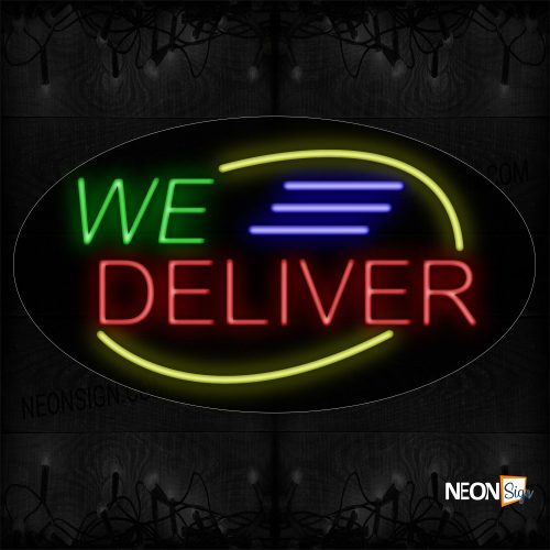 Image of 14385 We Deliver With Blue Lines And Yellow Arc Border Neon Signs_17x30 Contoured Black Backing