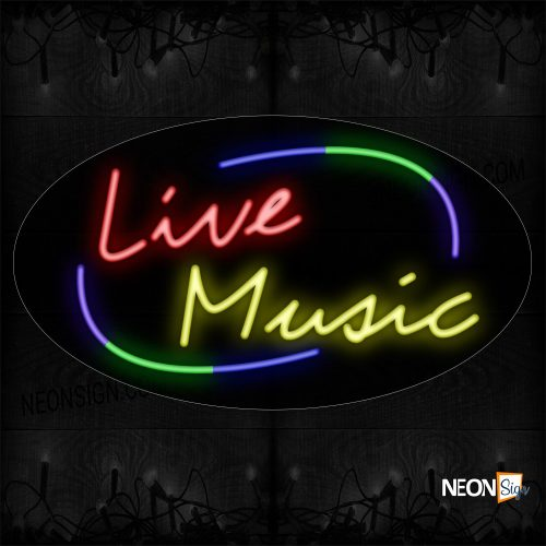 Image of 14392 Live Music With Colorful Arc Border Neon Sign_17x30 Countoured Black Backing