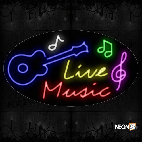 Image of 14393 Live Music With Guitar Logo Neon Sign_17x30 Countoured Black Backing