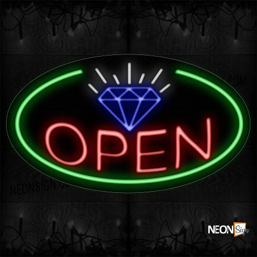Image of 14395 Open With Border & Diamond Sign Neon Sign_17x30 Contoured Black Backing