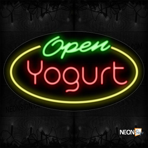 Image of 14410 Open Yogurt With Yellow Oval Border Neon Sign_17x30 Contoured Black Backing