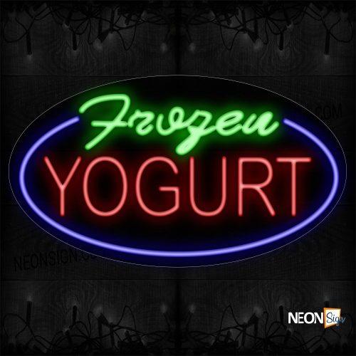 Image of 14411 Frozen Yogurt With Circle Border Neon Sign_17x30 Contoured Black Backing