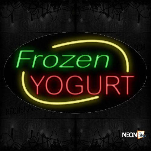 Image of 14412 Frozen Yogurt With Arc Border Neon Sign_17x30 Contoured Black Backing