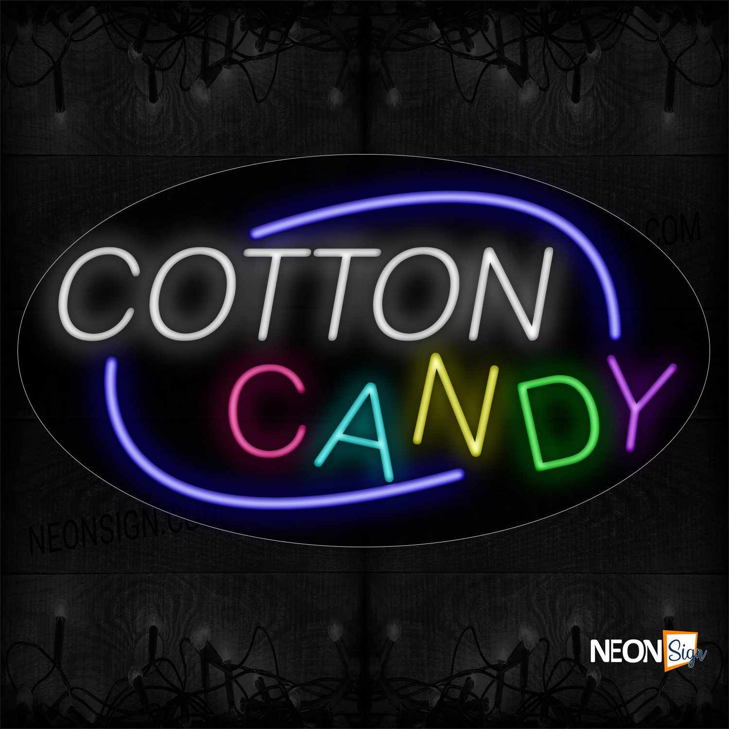 Image of 14440 Cotton Candy With Arc Border Neon Sign_17x30 Contoured Black Backing