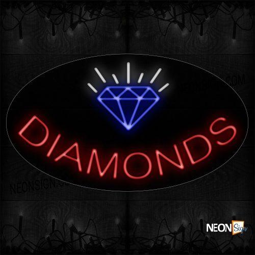 Image of 14443 Diamonds With Logo Neon Sign_17x30 Contoured Black Backing