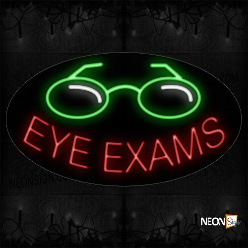 Image of 14448 Eye Exams In Red with Logo Neon Sign_17x30 Contoured Black Backing