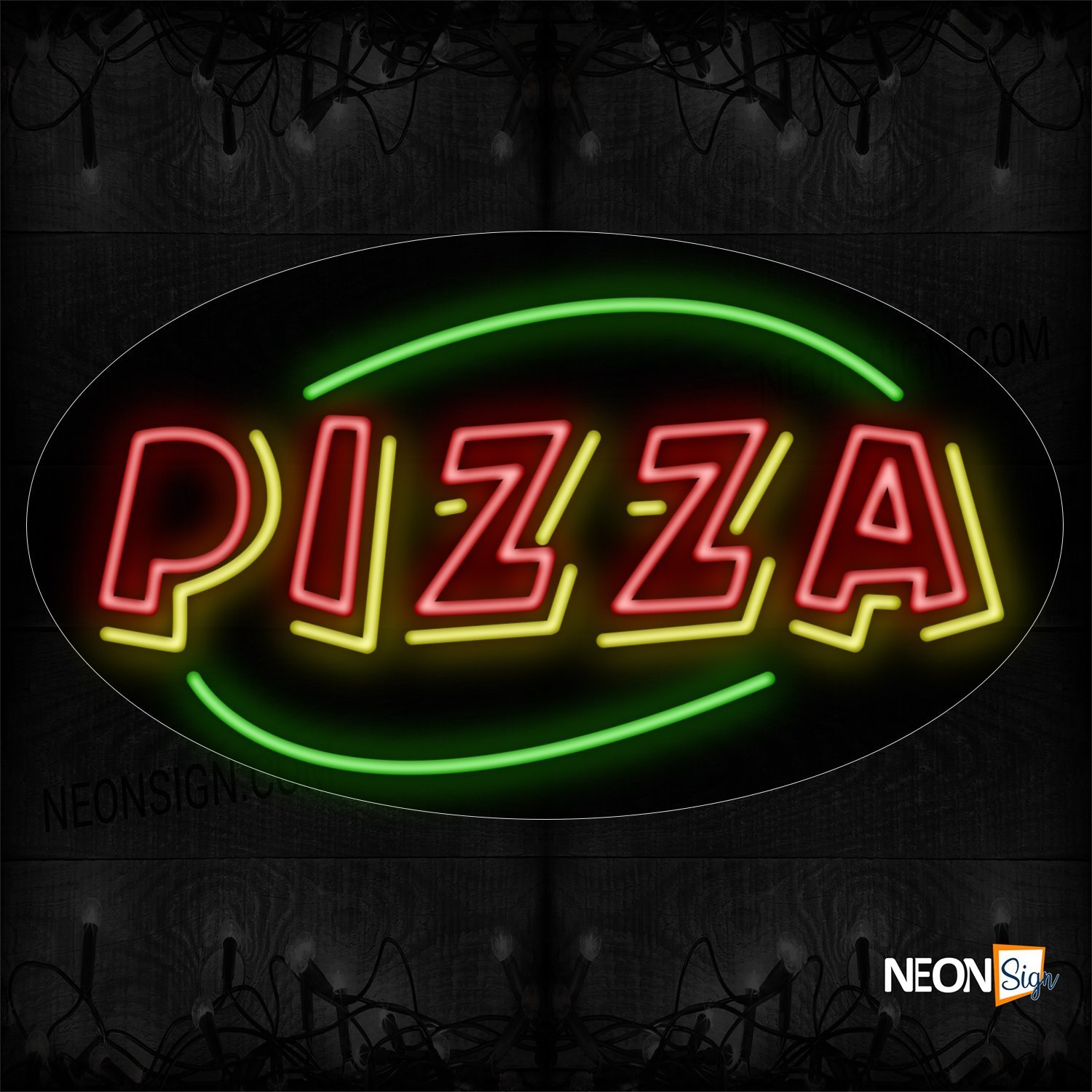 Image of 14468 Double Stroke Pizza With Green Arc Border Neon Sign_17x30 Contoured Black Backing