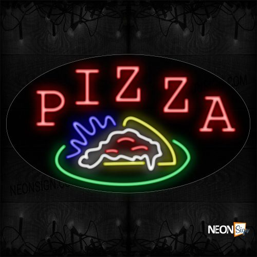 Image of 14469 Pizza With Food Logo Neon Sign_17x30 Contoured Black Backing