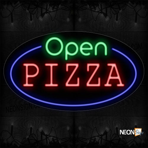 Image of 14470 Open Pizza With Circle Border Neon Sign_17x30 Contoured Black Backing