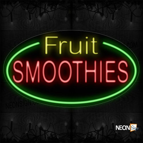 Image of 14477 Fruit Smoothies With Green Oval Border Neon Sign_17x30 Contoured Black Backing
