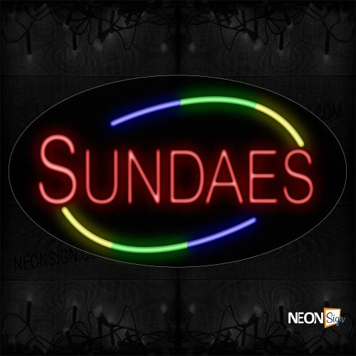 Image of 14480 Sundaes With Colorful Arc Border Neon Sign_17x30 Contoured Black Backing