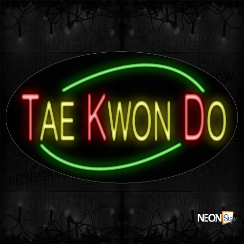 Image of 14482 Taekwondo With Green Arc Border Neon Sign_17x30 Contoured Black Backing