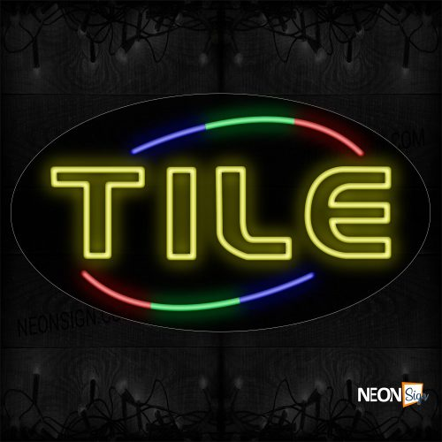 Image of 14485 Double Stroke Tile With Colorful Arc Border Neon Sign_17x30 Contoured Black Backing