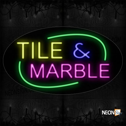 Image of 14486 Tile & Marble With Circle Border Neon Sign_17x30 Contoured Black Backing