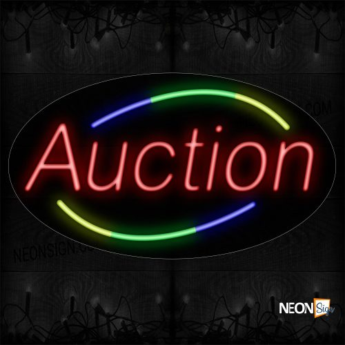 Image of 14493 Auction With Arc Border Neon Sign_17x30 Contoured Black Backing