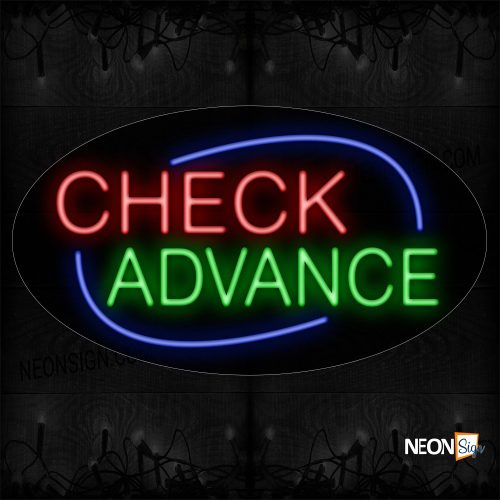 Image of 14505 Check Advance With Blue Arc Border Neon Sign Sign_17x30 Contoured Black Backing