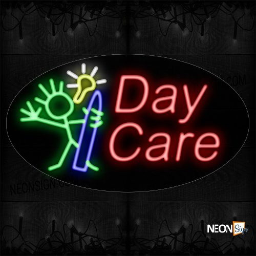 Image of 14510 Daycare With Logo Neon Sign_17x30 Contoured Black Backing