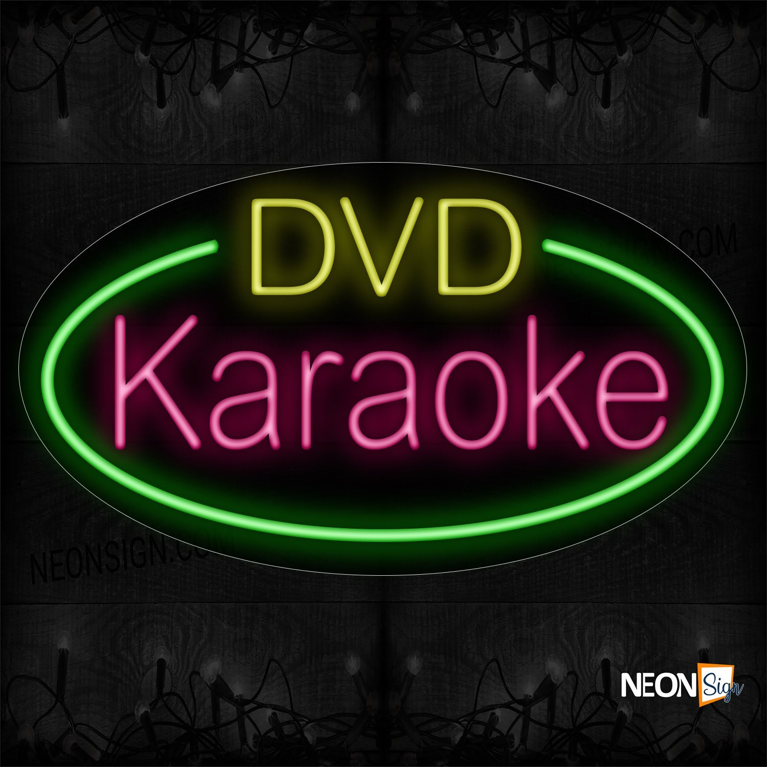 Image of 14516 Dvd Karaoke With Green Oval Border Neon Sign_17x30 Countoured Black Backing