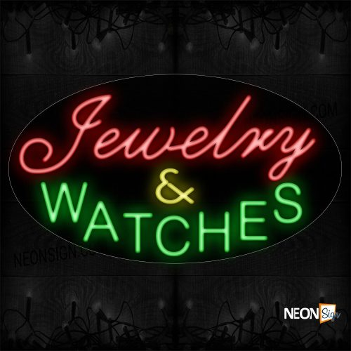 Image of 14530 Jewelry & Watches Neon Sign_17x30 Contoured Black Backing
