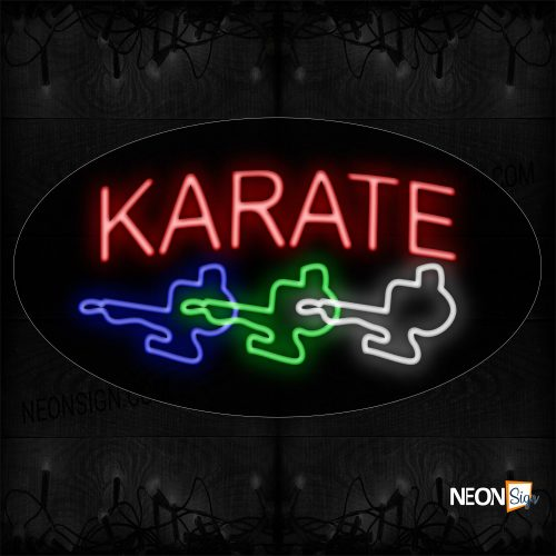 Image of 14534 Karate In Red With Logo Neon Sign_17x30 Contoured Black Backing