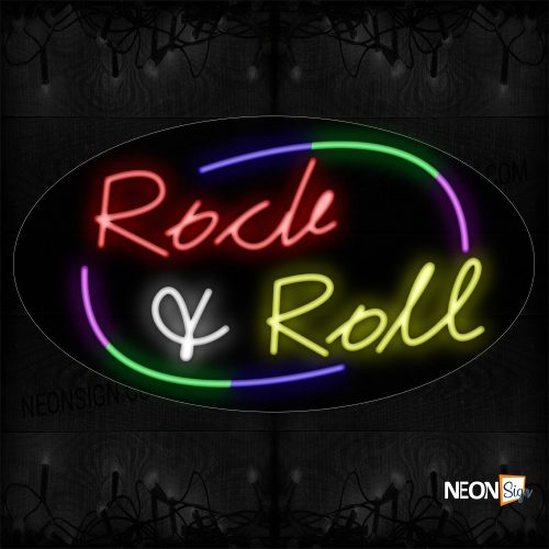 Image of 14558 Colorful Rock & Roll With Arc Border Neon Sign_17x30 Countoured Black Backing