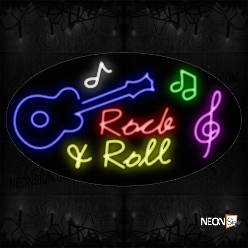 Image of 14559 Rock & Roll With Guitar Logo Neon Sign_17x30 Countoured Black Backing